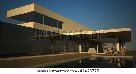Modern Summer House Render - stock photo