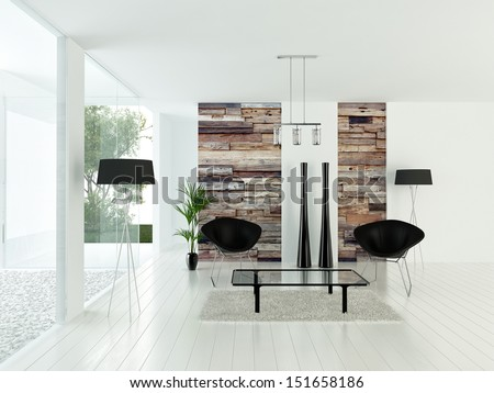 Modern sunny white living room interior with wooden wall - stock photo