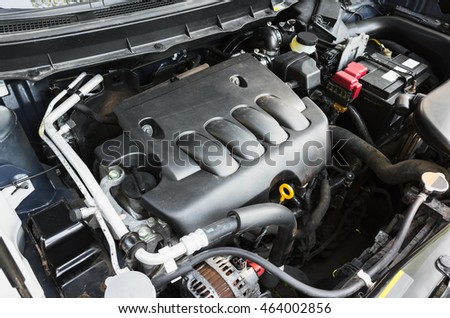 Modern suv car undersquare engine under oped hood