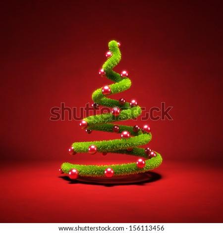 Modern symbolic Christmas tree, 3d render - stock photo