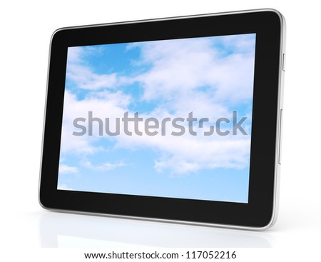 modern tablet computer isolated on white background. 3d rendered image