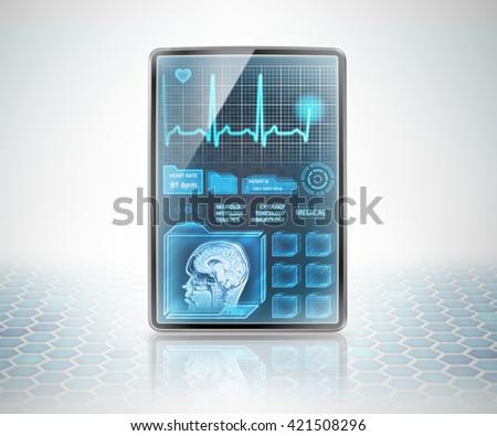 Modern tablet displaying medical information - stock photo