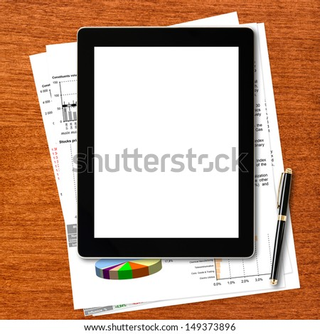 Modern tablet pc with blank screen, documents and pen on  table. - stock photo