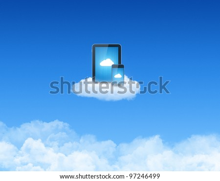 Modern tablet pc with mobile smart phone on a cloud. Conceptual image on cloud-computing theme. - stock photo