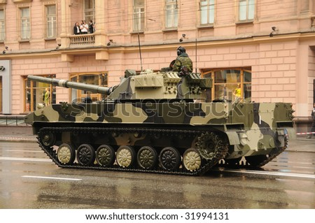Modern tanks on rehearsal of military parade in Moscow, Russia - stock photo