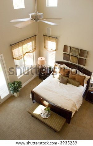 Modern tastefully decorated bedroom - stock photo