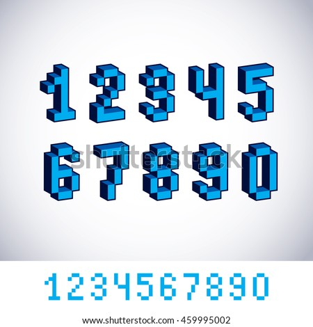 modern tech whole numbers set. Geometric pixilated digits, 3d dotted 8 bit numeration from 0 to 9.