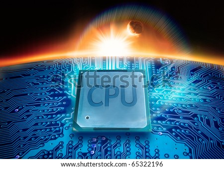 Modern Technology. A CPU on a circuit board with the sun on the horizon. - stock photo