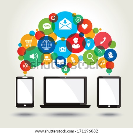 Modern technology and media icons. Concept background.  - stock photo