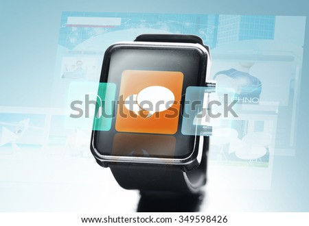 modern technology, communication, object and media concept - close up of black smart watch with text bubble icon on screen over blue background