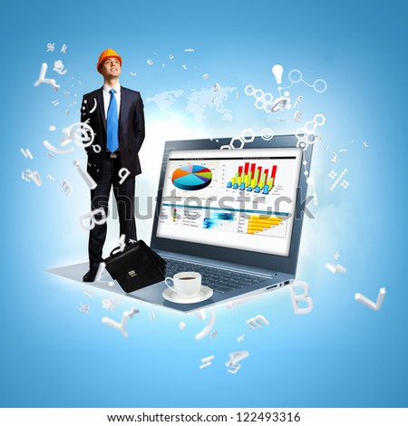 Modern technology illustration with computers and business person