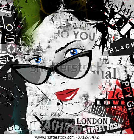 Modern teenage girl on grunge background. Grunge style. Modern generation. - stock photo