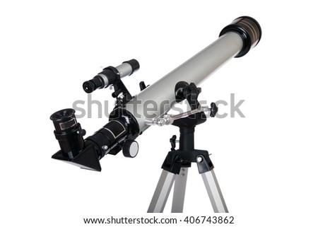 Modern telescope isolated on a white background. Telescope on tripod - stock photo
