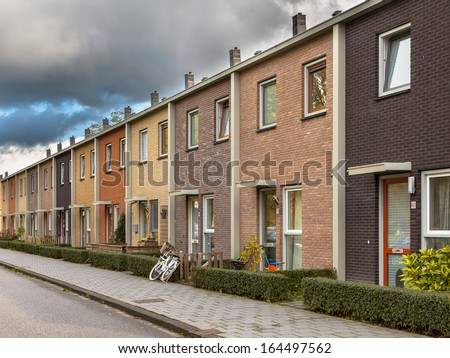 Modern Terra Colored Middle Class Terraced Houses in Europe - stock photo