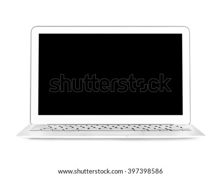 modern thin laptop with black screen isolated on white background - stock photo