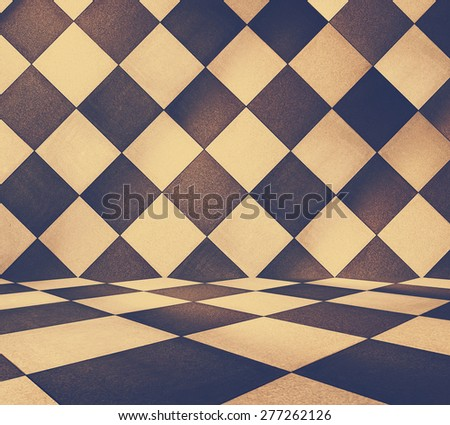 modern tiled room, retro filtered, instagram style - stock photo