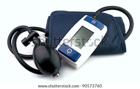 Modern tonometer for blood pressure measurement on a white background - stock photo