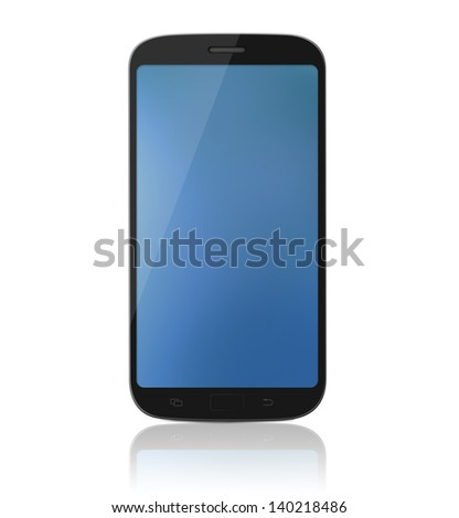 Modern touch-screen internet cell phone / mobile isolated on a white background with reflection. - stock photo