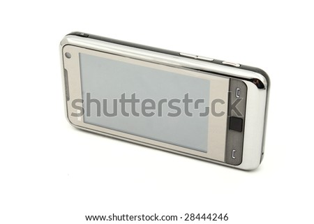 Modern touch screen mobile phone isolated on white background - stock photo