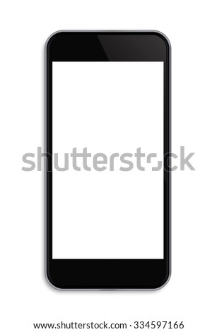 Modern touch screen smartphone and empty screen isolated on white background with clipping path.