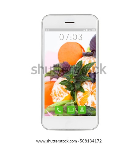 Modern touch screen smartphone with a wallpaper fruit