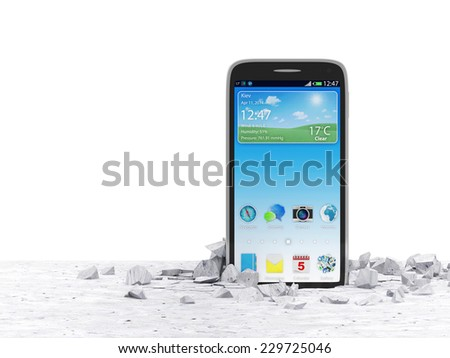 Modern Touchscreen Smartphone Breaking Through From Concrete Floor isolated on white background - stock photo