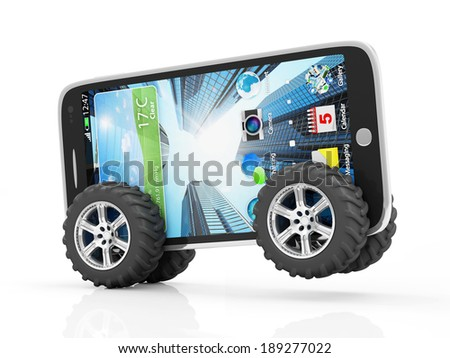 Modern Touchscreen Smartphone on Wheels isolated on white background - stock photo