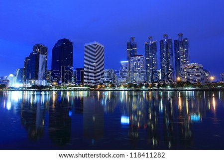 Modern Town in Bangkok cityscape with Reflection on Water, Thailand
