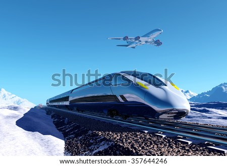 Modern train on the background of the snow landscape. - stock photo