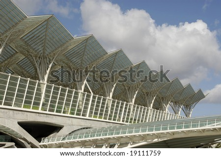 Modern train station in Lisbon's Nations Park - stock photo