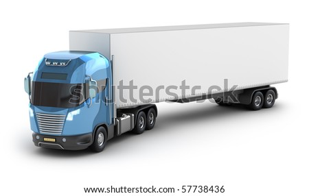 Modern truck with cargo container, isolated on white 3d image. My own Design. - stock photo