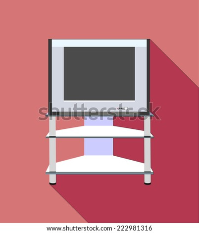 Modern TV table stand with glass shelves - stock photo