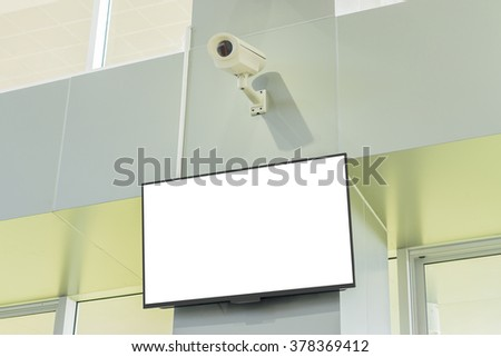 modern TV ,television screen and security camera on  wall,For product display,can be used for montage or display your products - stock photo