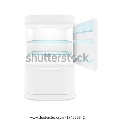 Modern two door white refrigerator, isolated,  illustration - stock photo