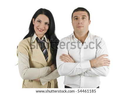 Modern two young business people stand with arms folded - stock photo