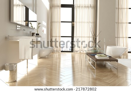 Modern upmarket bathroom interior with a herringbone floor, floor to ceiling windows with curtains, mirror, vanity and contemporary bathtub in neutral decor - stock photo