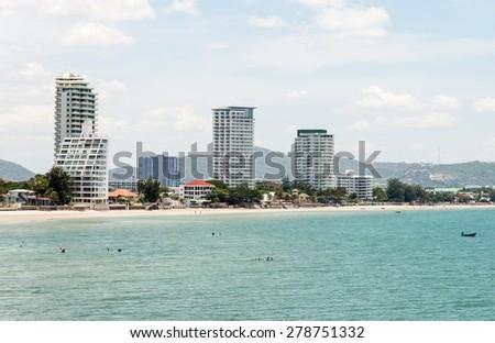 Modern urban building near the sea in Hua Hin district, Thailand. - stock photo