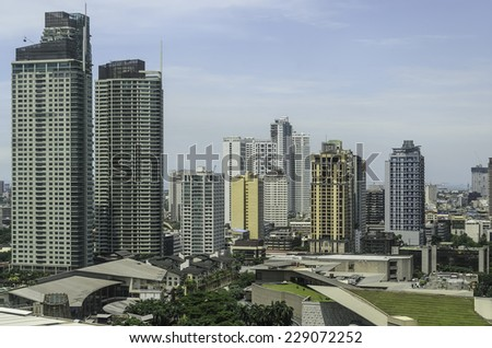 Modern urban buildings in Makati City, Manila, Philippines