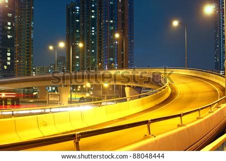 modern urban city , hong kong night - stock photo