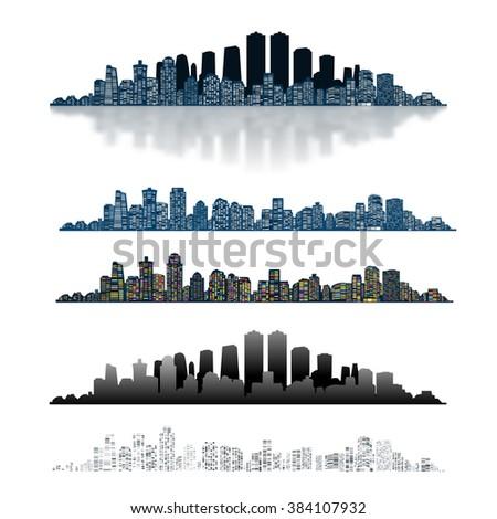 Modern Urban City Isolated on White background. Set Icon. Illustration  - stock photo