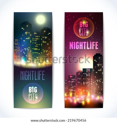 Modern urban nightlife city skyline at full moon night on dark background vertical banners isolated  illustration - stock photo