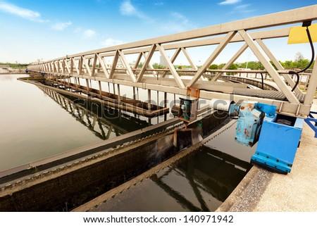 Modern urban wastewater treatment plant. - stock photo