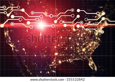 Modern USA by night- Elements of this image furnished by NASA - stock photo