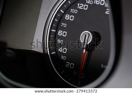 modern vehicle interior with speedometer at zero