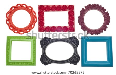 Modern Vibrant Colored Empty Frames Isolated on White with a Clipping Path. - stock photo
