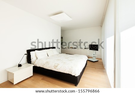 Modern villa, interior, view from the bedroom - stock photo