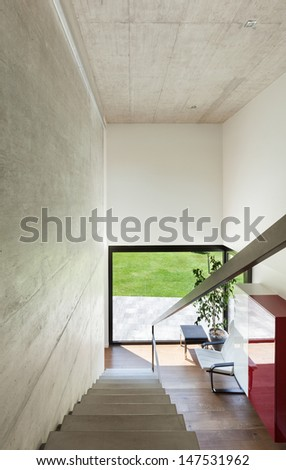 Modern villa, interior, view from the staircase - stock photo