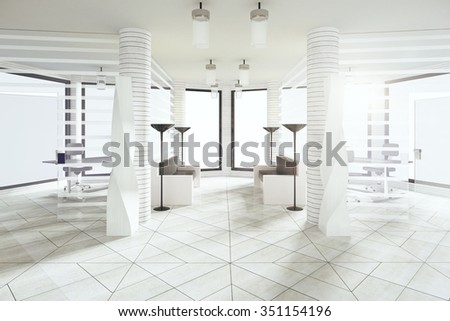 Modern waiting hall in white style office with big windows 3D Render