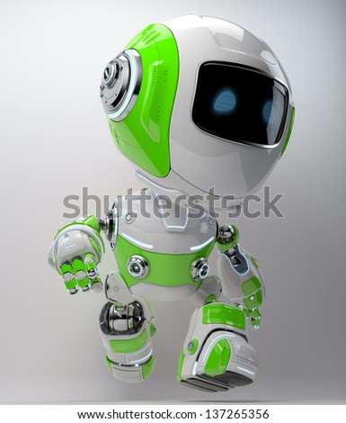 Modern walking robotic toy in bright colors - stock photo