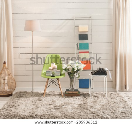 modern wall interior - stock photo